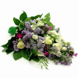 Rouwboeket blauw wit paars