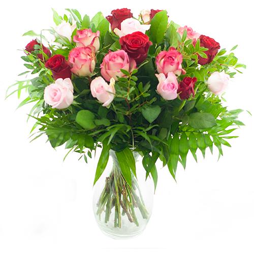 Moederdag boeket rode - roze rozen