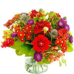 Najaarsboeket in rood-paars tinten
