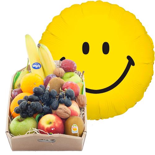 Fruitkistje met een smile heliumballon
