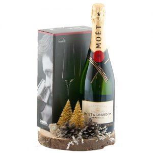 Champagne met kerst decoratie