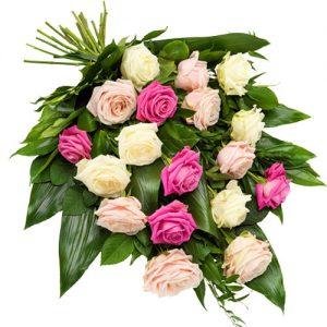 Rouwboeket roze en witte rozen