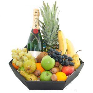 Fruitmand de luxe met fles Moët & Chandon