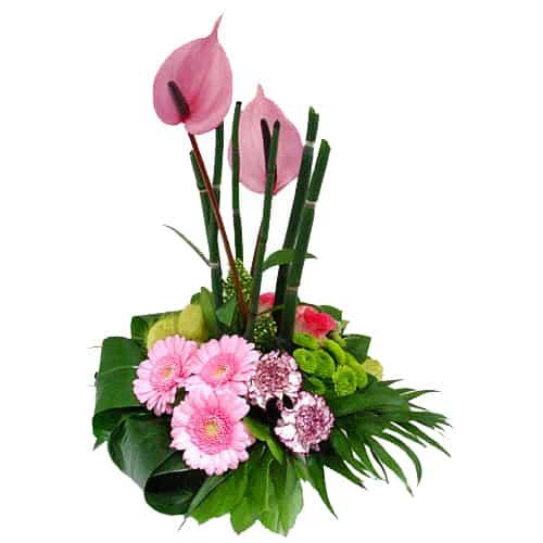 Bloemstuk roze lila
