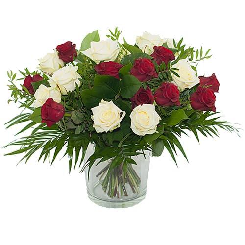 Boeket rode - witte rozen