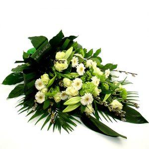 Rouwboeket wit groen