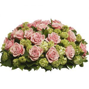 Rouwarrangement roze rozen