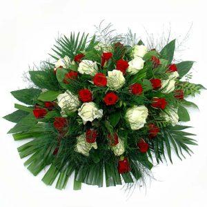 Rouwarrangement rode en witte rozen