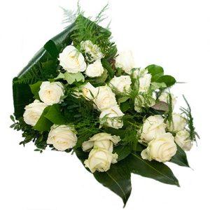 Rouwboeket van witte rozen