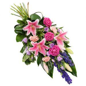 Rouwboeket roze lila paars