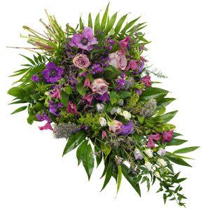 Rouwboeket lila paars