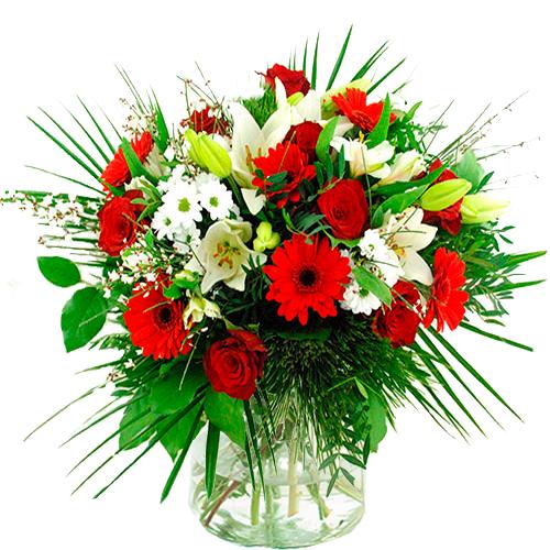 Bloemen buitenland rood - wit