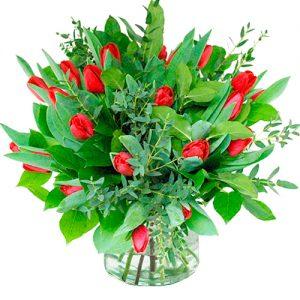 Boeket rode tulpen
