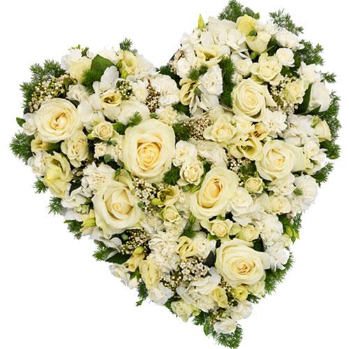 Rouwarrangement hart vorm wit