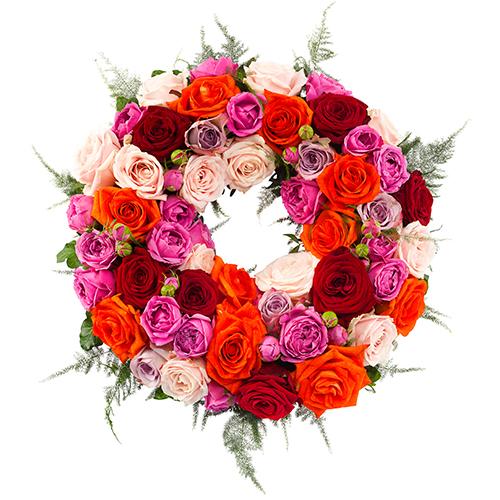 Rouwkrans Ajour gemengde rozen