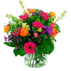Voorjaarsboeket oranje roze lila