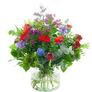 Seizoensboeket rood lila/paars